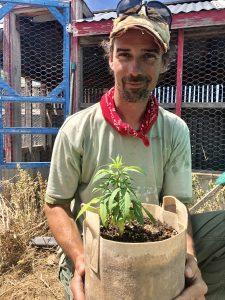 Kevin Bishop with hemp plant